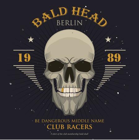 grunge print for t-shirt skull. skull vector print 版權商用圖片 - 38364883