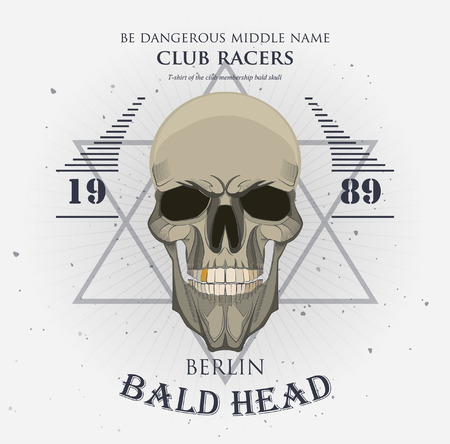 grunge print for t-shirt skull. skull vector print 版權商用圖片 - 38364890