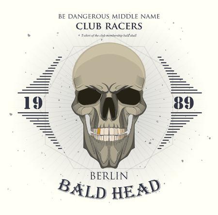 grunge print for t-shirt skull. skull vector print 版權商用圖片 - 38364892