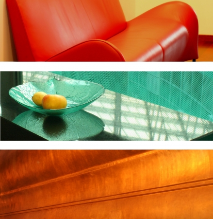 Three office banners  backgrounds  - couch, glass and gold Stock Photo