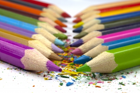 Colorful pencils in shaves Stock Photo