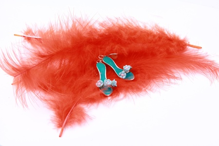 Turquoise shoes earrings on orange feather Stock Photo