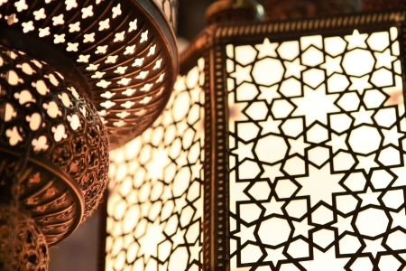 in islamic art: Close up  macro  of an arabic light  Stock Photo
