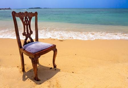 Old, Stylish, Wooden Chair on Tropical Beach, Unawatuna, Sri Lanka