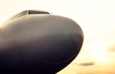Airplane nose, close up of a plane