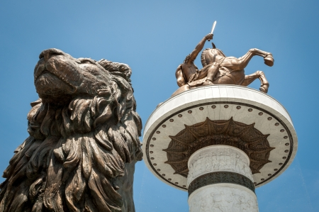 Statue of Alexander the Great with statue of lion in front of it, in Skopje, Macedonia (FYROM) Stock Photo
