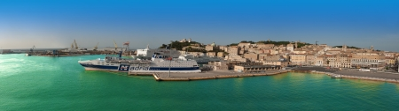 ANCONA, ITALY - MAY 3: Panorama of Ancona Port, Italy, on May 3, 2013. Ancona Port is one of the busiest ports in Italy because of the ferry connections with Croatia and Greece.