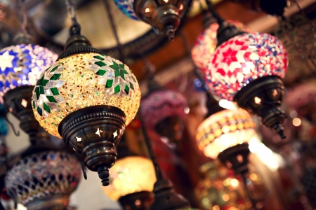 Colourful lightts on turkish market