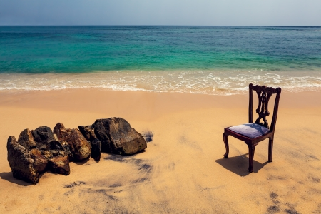 Chair and Rocks on Tropical Beach, Background