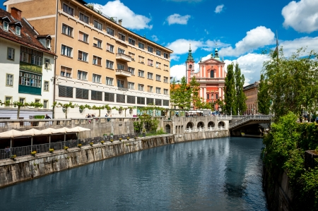 Ljubljana city center, river view, on May 18, 2013  Lately, more and more visitors have visited Slovenian capital - on average, 8 per cents more annualy  Stock Photo - 20022235