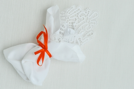 Wedding bouquet, with lace and orange ribbon Stock Photo