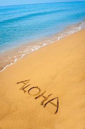 Word Aloha written in sandy on a tropical beach Stock Photo