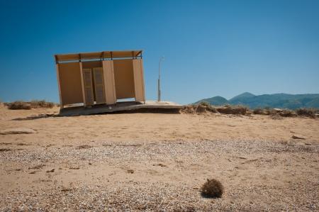 Empty, broken and deserted beach house