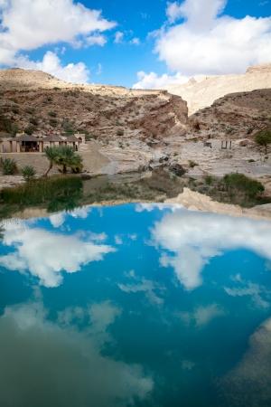 Wadi Bani Khalid, Oman, with sky reflection