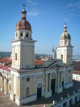 Cathedral de Nuestra Seora de la Asunci³n on the main market in Santiago de Cuba Stock Photo