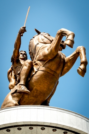 Statue of Alexander the Great in Skopje downtown, Macedonia photo