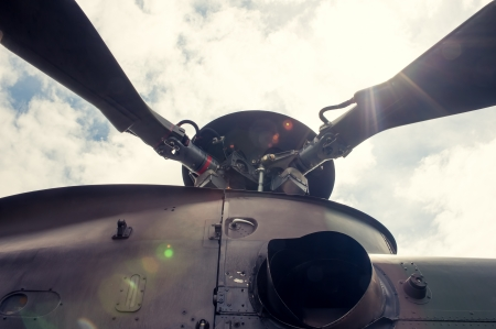 Propeller on military helicopter in close up Stock Photo