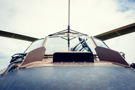 Windshield and blades of helicopter, close up