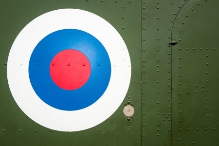 Bulls Eye target sign on military helicopter