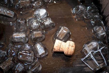 Cork of champagne bottle in oak barrel, with ice cubes