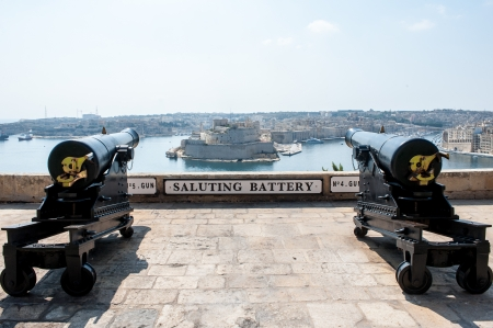 Two cannons in saluting battery on Valletta castle Malta