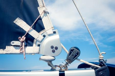 Ropes on mast, sailing boat close up