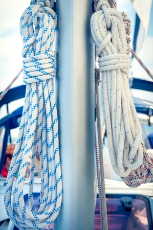 Ropes on mast on a sailing boat