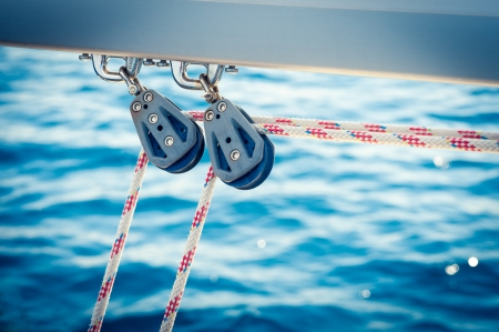 Ropes on a sail Stock Photo