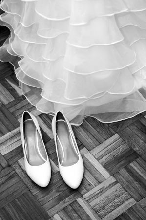 Wedding shoes and dress, black and white