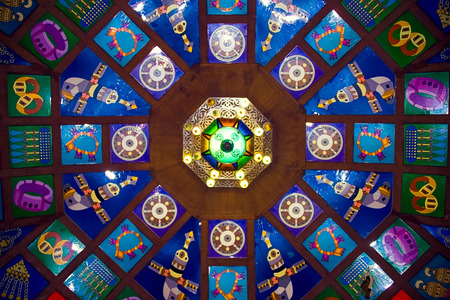 Colorful ceiling above Muscat souk market, Sultanate of Oman
