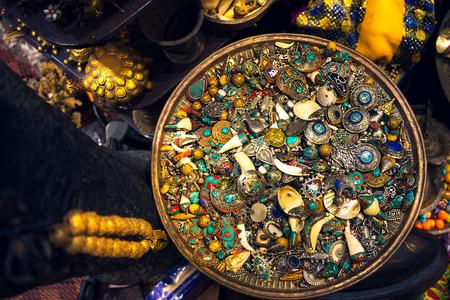 Jewellery and silver box, treasure, in souk market in Muscat, Oman