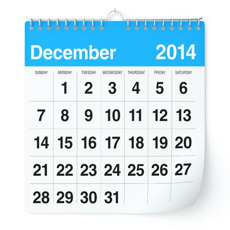 december: December 2014 - Calendar Stock Photo