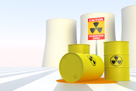 Nuclear Power Plant with Radioactivity Sign photo