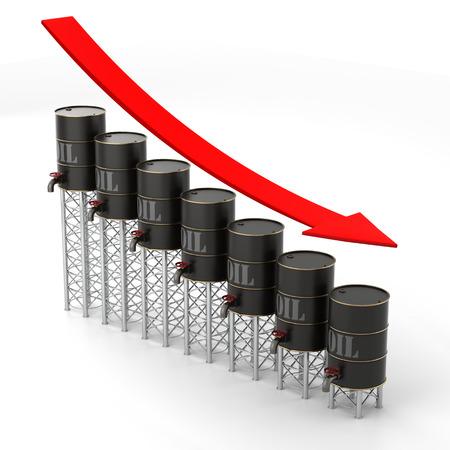 Falling Oil Price graph Фото со стока - 30073413