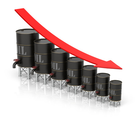 high price of oil: Falling Oil Price graph concept