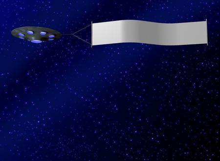 ufology: UFO con Banner Archivio Fotografico
