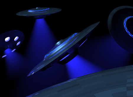 ufology: Invading UFOs Stock Photo