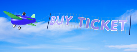 Cartoon Airplane with Buy Ticket banner photo