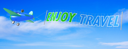 Cartoon Airplanes with Enjoy Travel Banner photo
