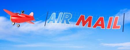 Cartoon vliegtuigen met luchtpostbanner