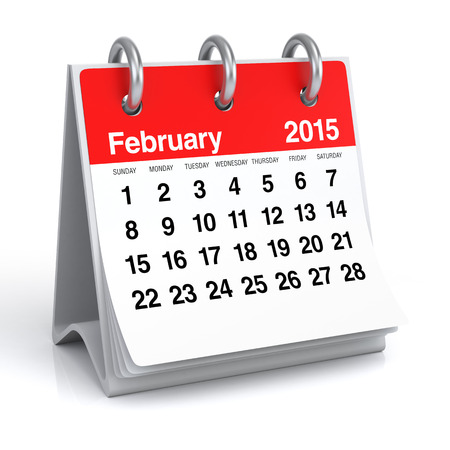 Februari 2015 - Kalender Stockfoto