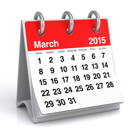 March 2015 - Calendar Stock Photo - 30389269