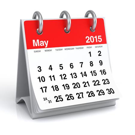 Mei 2015 - Kalender Stockfoto