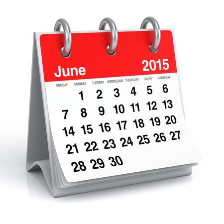 June 2015 - Calendar Фото со стока - 30389273