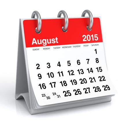 August 2015 - Calendar Stock Photo - 30389275