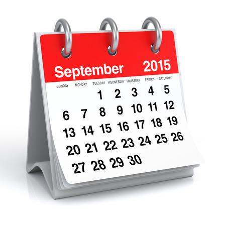 September 2015 - Calendar Stock Photo - 30389276