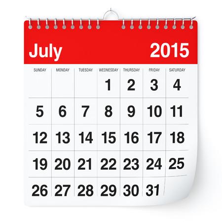 Juli 2015 - Kalender Stockfoto