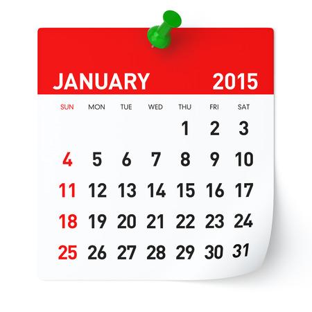 Januari 2015 - Kalender Stockfoto