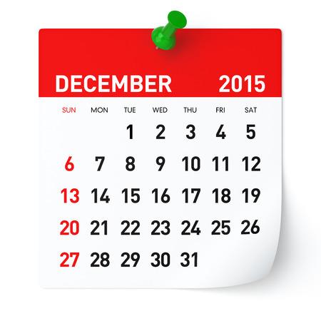december: December 2015 - Calendar Stock Photo