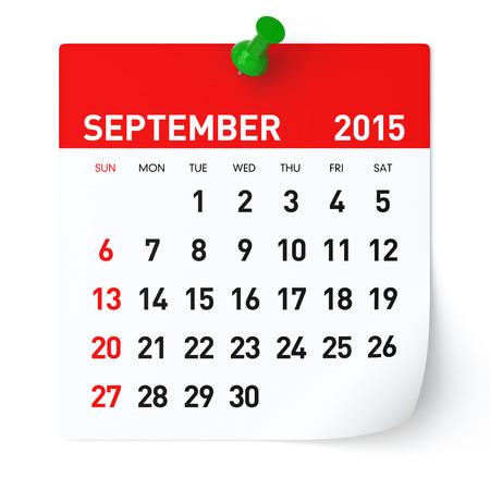 September 2015 - Kalender Stockfoto